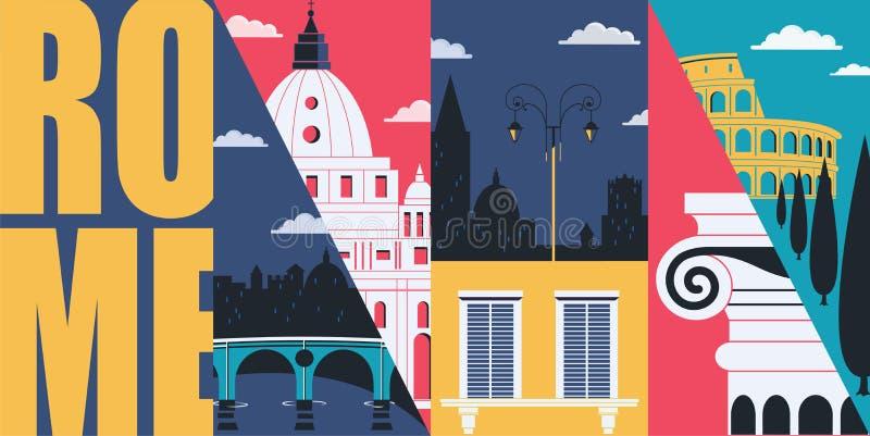 Illustration d'horizon de vecteur de Rome, Italie, carte postale Voyage à la conception graphique plate moderne de l'Italie illustration libre de droits