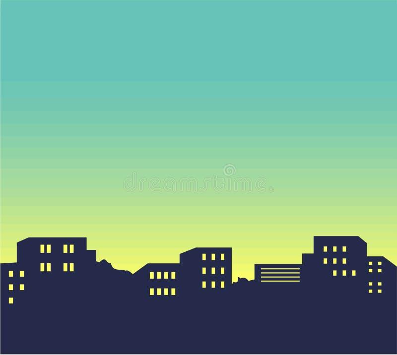 Illustration d'horizon de ville de nuit. JPG et ENV