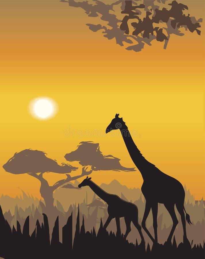 Illustration d'horizontal de soirée de vecteur illustration de vecteur