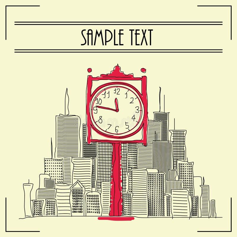 Illustration d'horloge de ville illustration stock