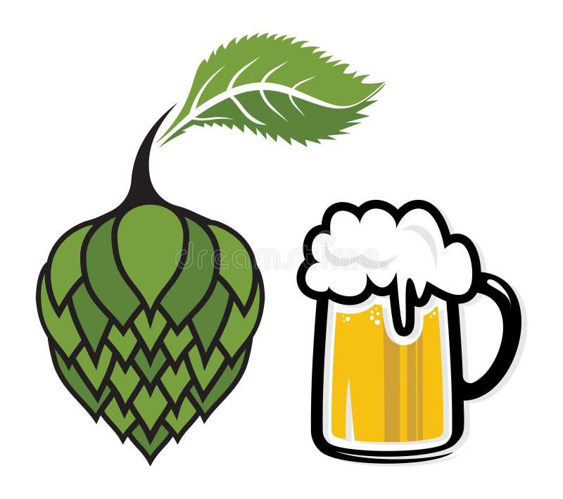 Illustration d'houblon et de tasse de bière illustration libre de droits