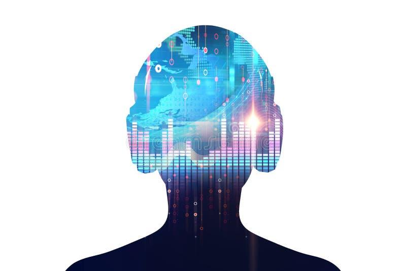 Illustration 3d D'humain Avec L'écouteur Sur La Forme D'onde
