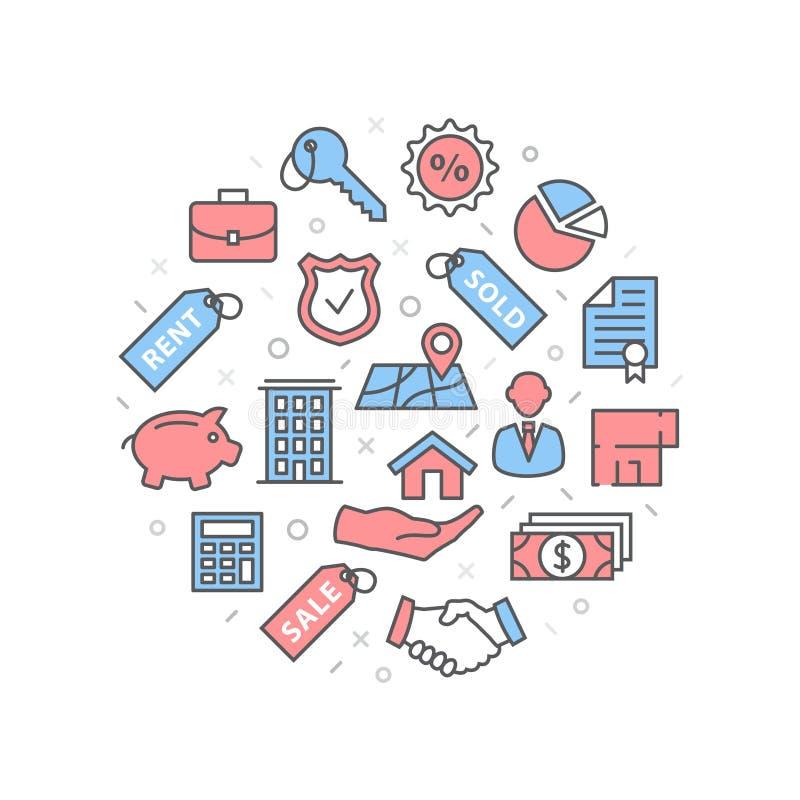 Illustration d'hypothèque avec des icônes et des signes illustration libre de droits