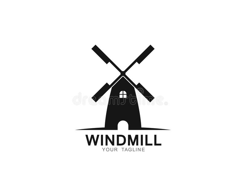 Illustration d'icône de vecteur de calibre de logo de moulin à vent illustration de vecteur