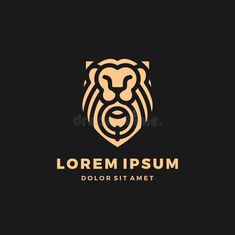 Illustration d'icône de vecteur de calibre d'or de logo de roi de bouclier de lionsgate de porte de lion images stock