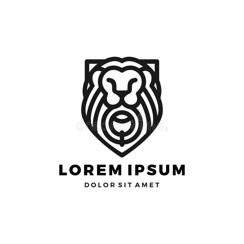 Illustration d'icône de vecteur de calibre de roi de bouclier de logo de lionsgate de porte de lion photographie stock libre de droits