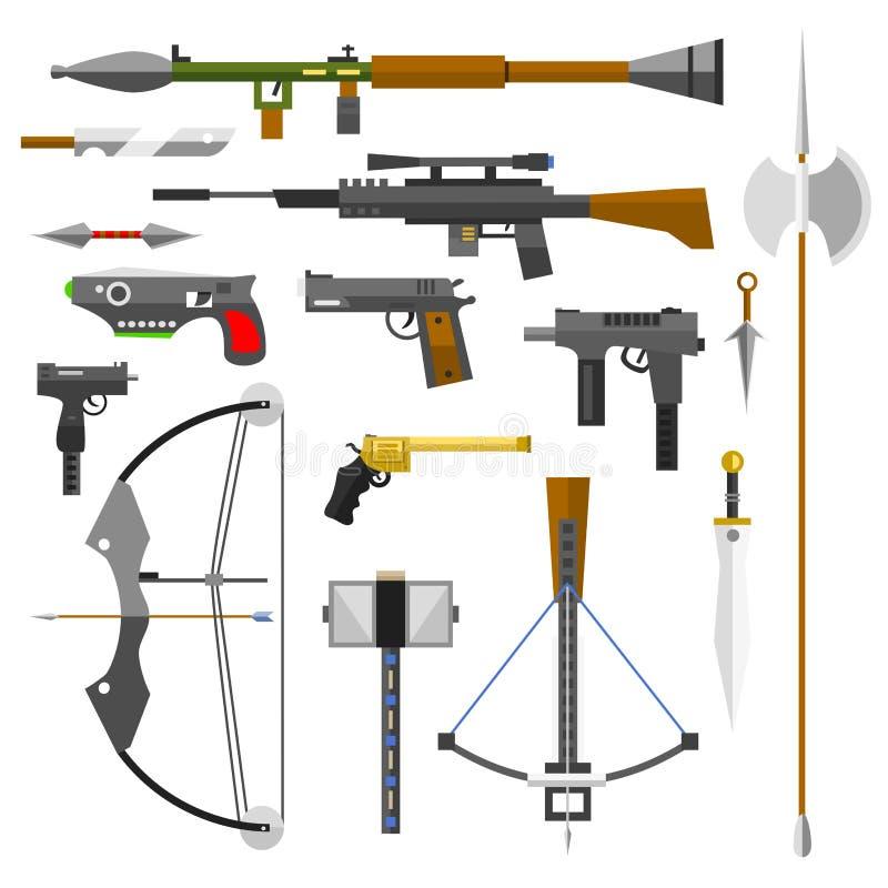 Illustration d'icônes de balles de pistolet de couteau de tireur isolé de fusils d'assaut de mitraillette de pistolets d'armes à  illustration stock