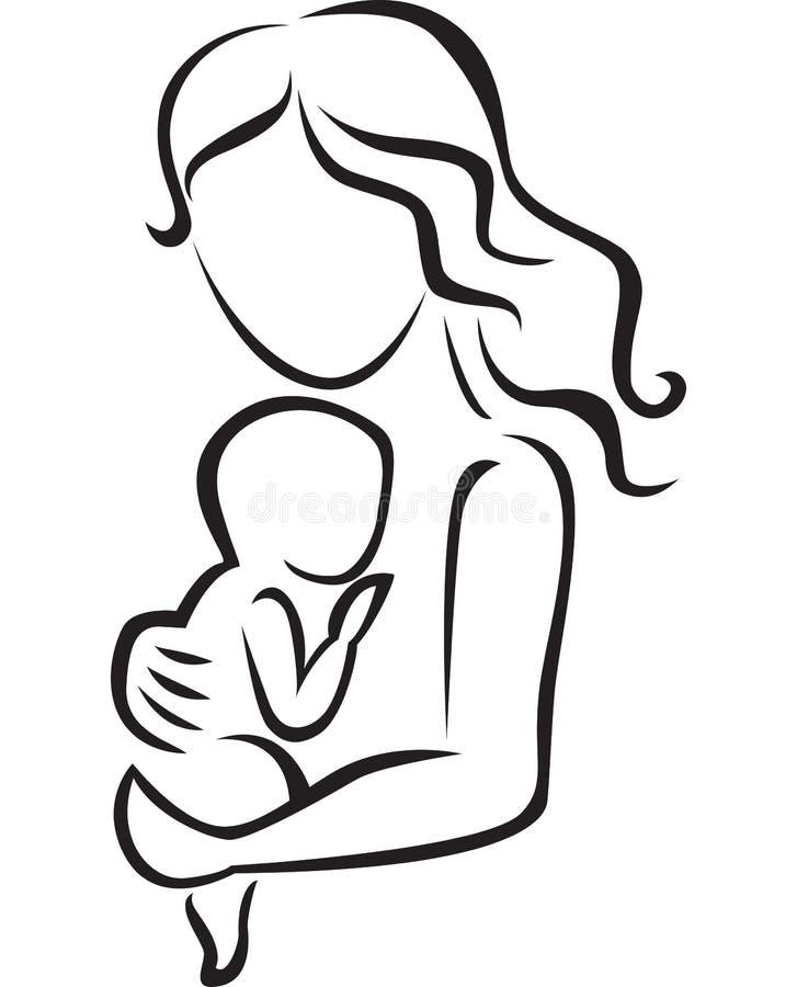 Illustration d'icône de mère et de bébé illustration libre de droits