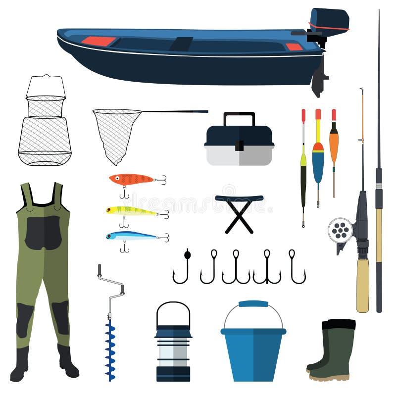 Illustration d'icônes de vecteur de pêche Ancre de canne à pêche, de crochets, d'amorce, de bateau et de poissons Symboles de pêc photos stock