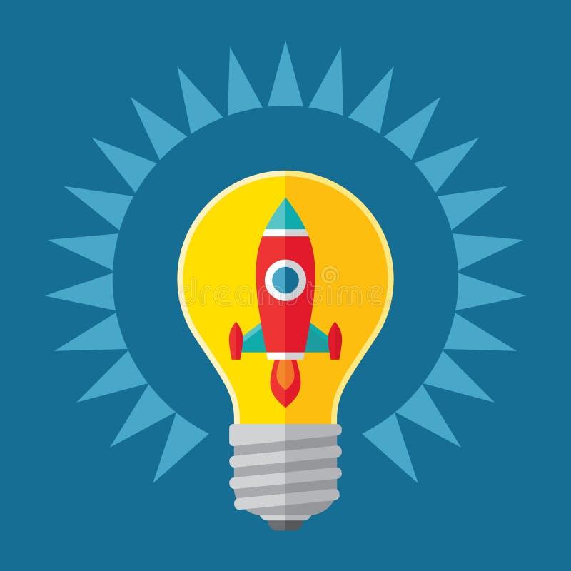 Illustration d'idée et de concept de démarrage Rocket dans l'ampoule - illustration créative dans la conception plate de style illustration libre de droits