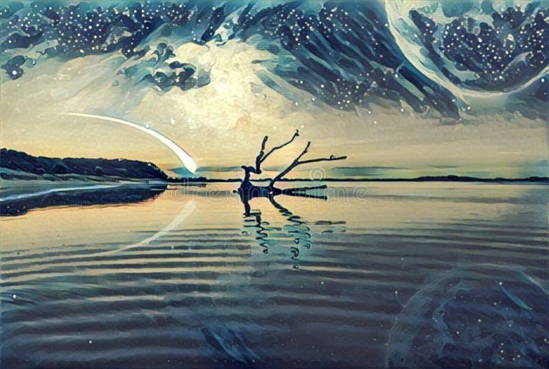 Illustration d'illustration de paysage d'imagination - lac et et esprit de collines illustration libre de droits