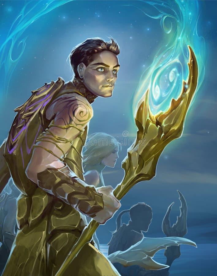 Illustration d'imagination d'un cancer de signe de zodiaque en tant que jeune chaman beau illustration de vecteur