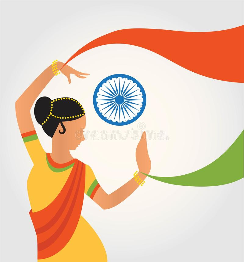 Illustration d'Inde colorée de culture avec la danse classique de forme différente illustration libre de droits