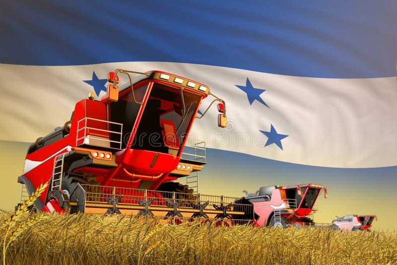 Illustration 3D industrielle de la moissonneuse de cartel agricole travaillant au champ de seigle avec le fond de drapeau du Hond illustration libre de droits