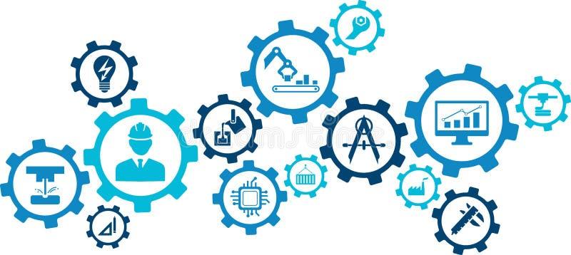 Illustration d'ingénierie : numérisation, technologie, innovation - concept abstrait illustration stock
