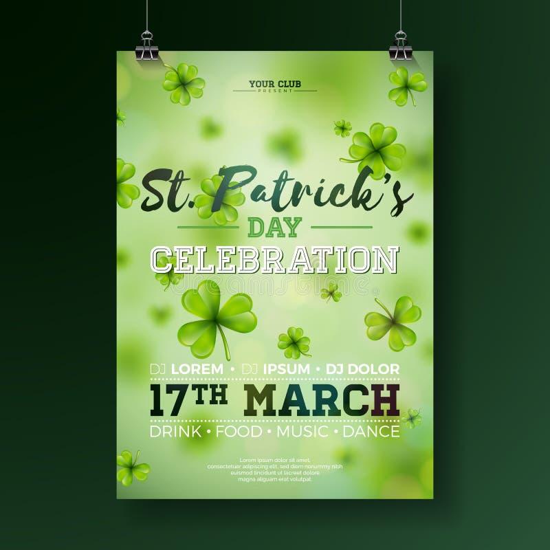 Illustration d'insecte de partie de jour du ` s de St Patrick avec le trèfle et lettre de typographie sur le fond vert Chanceux i illustration libre de droits