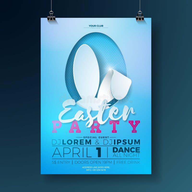 Illustration d'insecte de partie de Pâques de vecteur avec des oreilles de lapin et des éléments de typographie sur le fond bleu  illustration stock