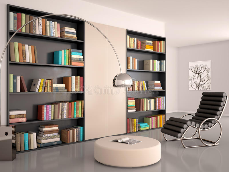 Illustration d'intérieur de pièce moderne pour la lecture illustration stock