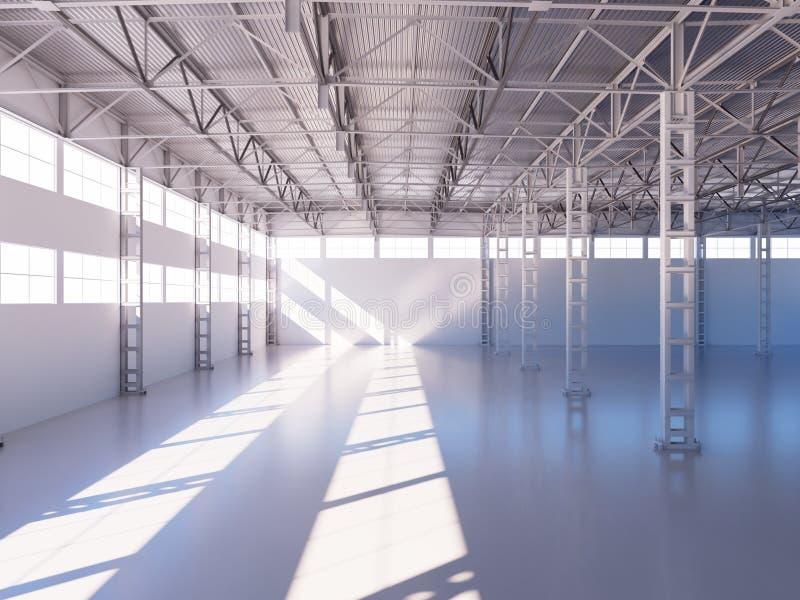 Illustration 3d intérieure d'entrepôt vide contemporain illustration stock