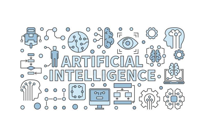Illustration d'intelligence artificielle Bannière minimale du vecteur AI illustration libre de droits