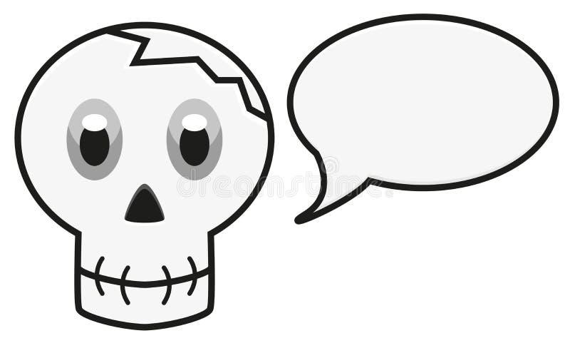 Illustration d'isolement de crâne avec la bulle de la parole illustration libre de droits