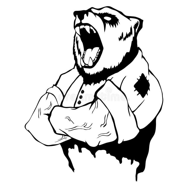 Illustration d'isolement de vecteur un ours sauvage fort - homme illustration libre de droits