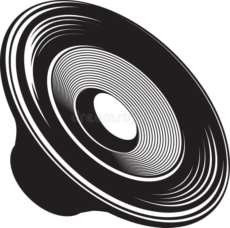 Illustration d'isolement noire et blanche de dispositif acoustique de haut-parleur illustration libre de droits
