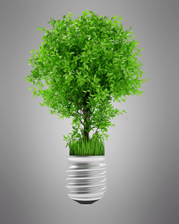 Illustration d'isolement par arbre de la lampe CG. d'Eco illustration stock