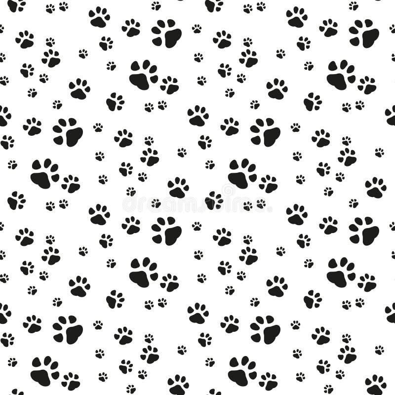 Illustration d'isolement par bande dessinée sans couture de papier peint de répétition de fond de tuile de chiot de chaton d'e illustration libre de droits