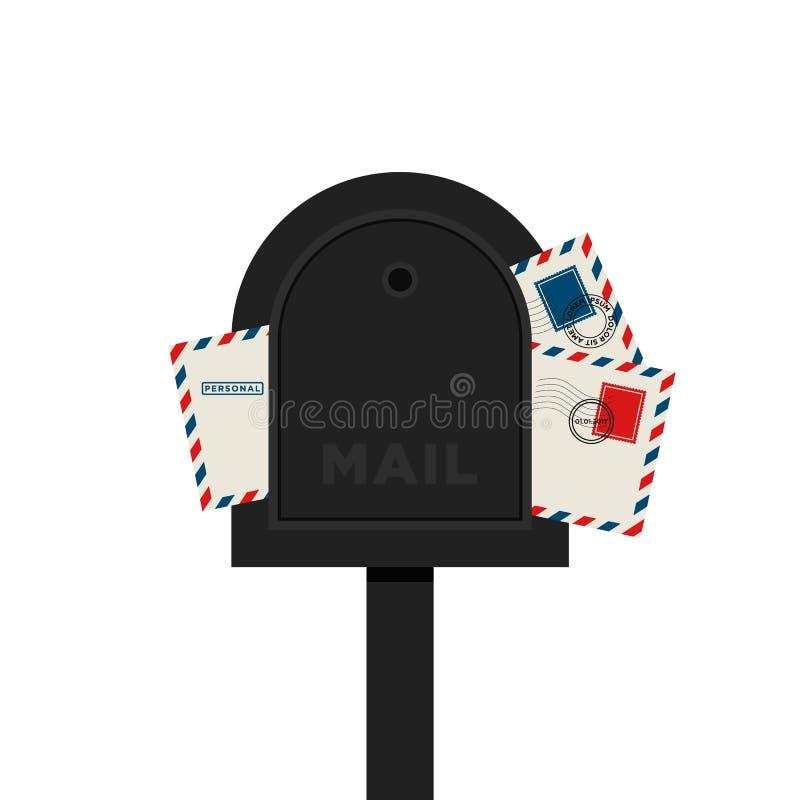 Illustration d'isolement par conception plate de lettre de boîte aux lettres illustration libre de droits