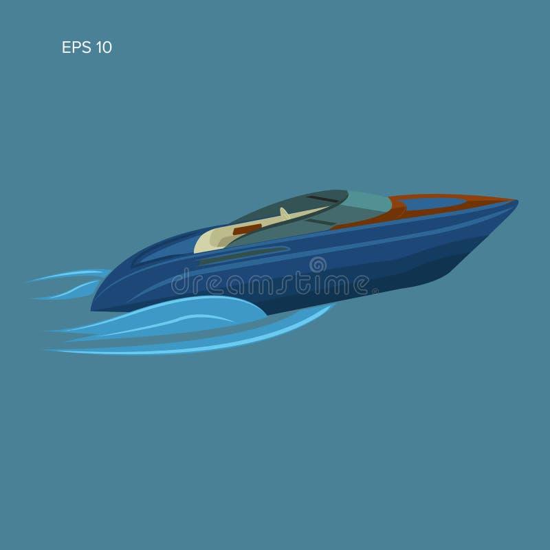 Illustration d'isolement par hors-bord Conception plate de vecteur de luxe de bateau streamline illustration libre de droits
