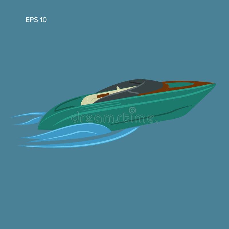 Illustration d'isolement par hors-bord Vecteur de luxe de bateau streamline illustration de vecteur