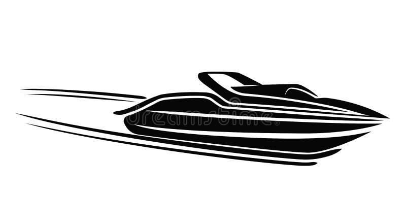 Illustration d'isolement par hors-bord Vecteur de luxe de bateau streamline illustration libre de droits