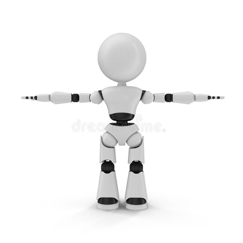 Illustration 3D d'isolement par robot moderne sur le fond blanc illustration libre de droits