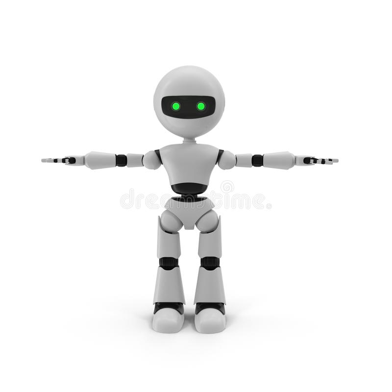Illustration 3D d'isolement par robot moderne sur le fond blanc illustration stock