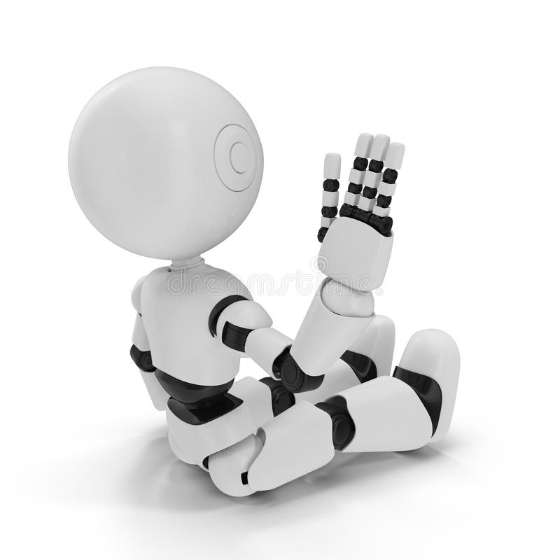 Illustration 3D d'isolement par robot moderne sur le fond blanc illustration libre de droits