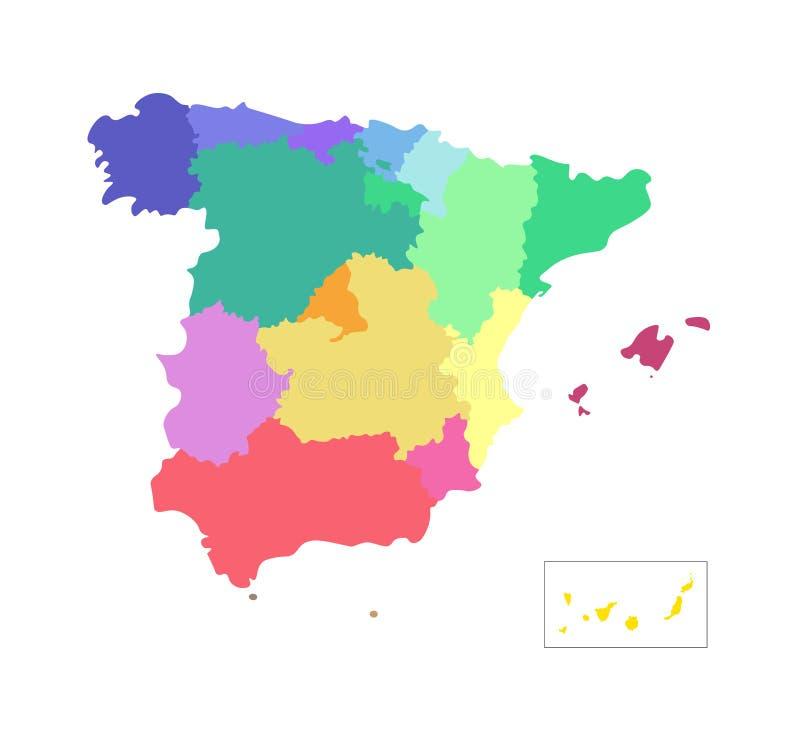 Illustration d'isolement par vecteur de carte administrative simplifiée de l'Espagne r Silhouettes color?es illustration de vecteur