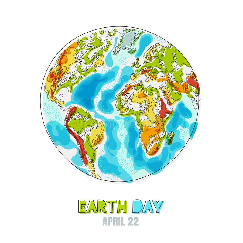 Illustration d'isolement par vecteur de planète de la terre Carte heureuse de jour de terre Ambiant, écologie, concept de protect illustration de vecteur