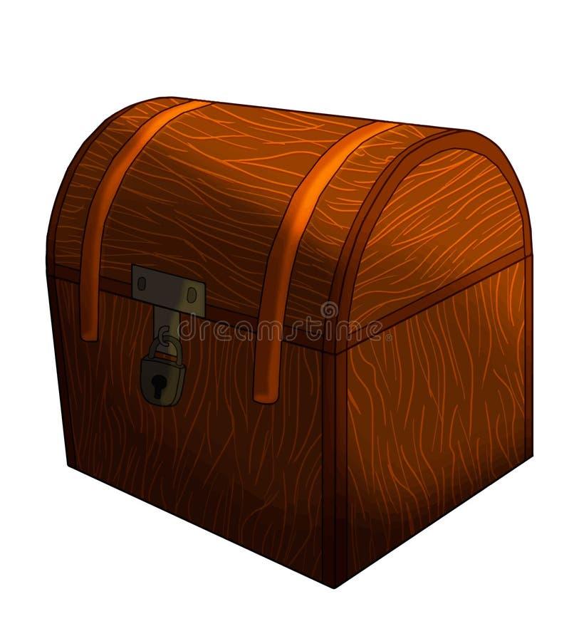 Illustration d'isolement par vecteur fermé de coffre au trésor illustration stock