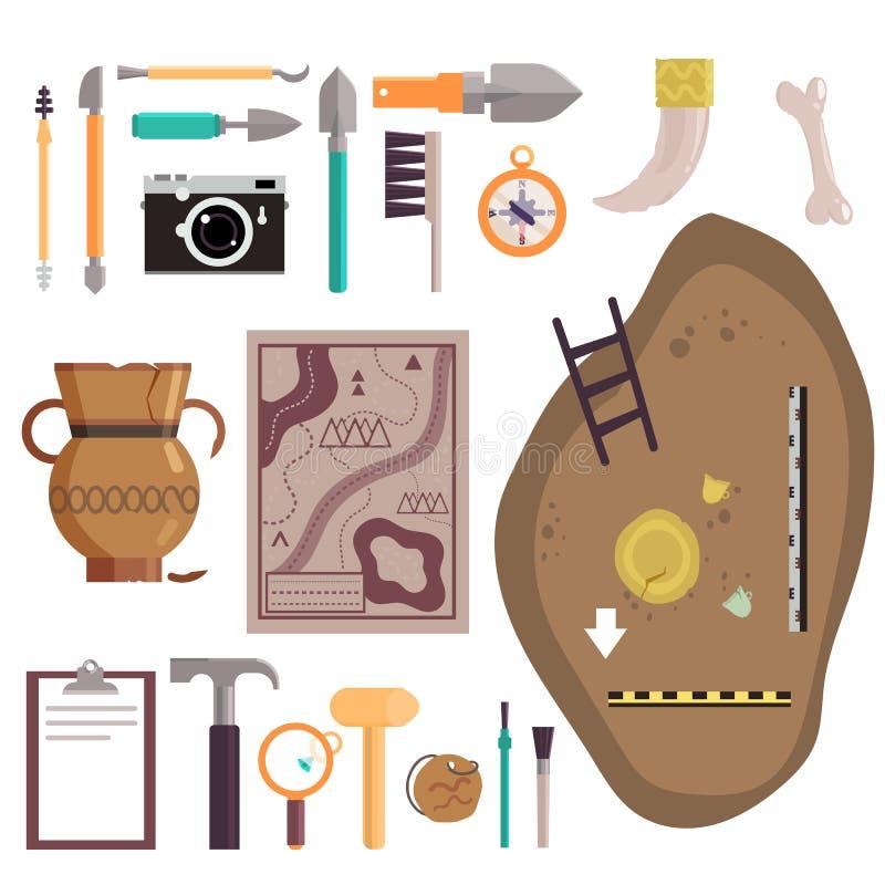 Illustration d'isolement par vecteur réglé d'icône d'archéologie illustration stock