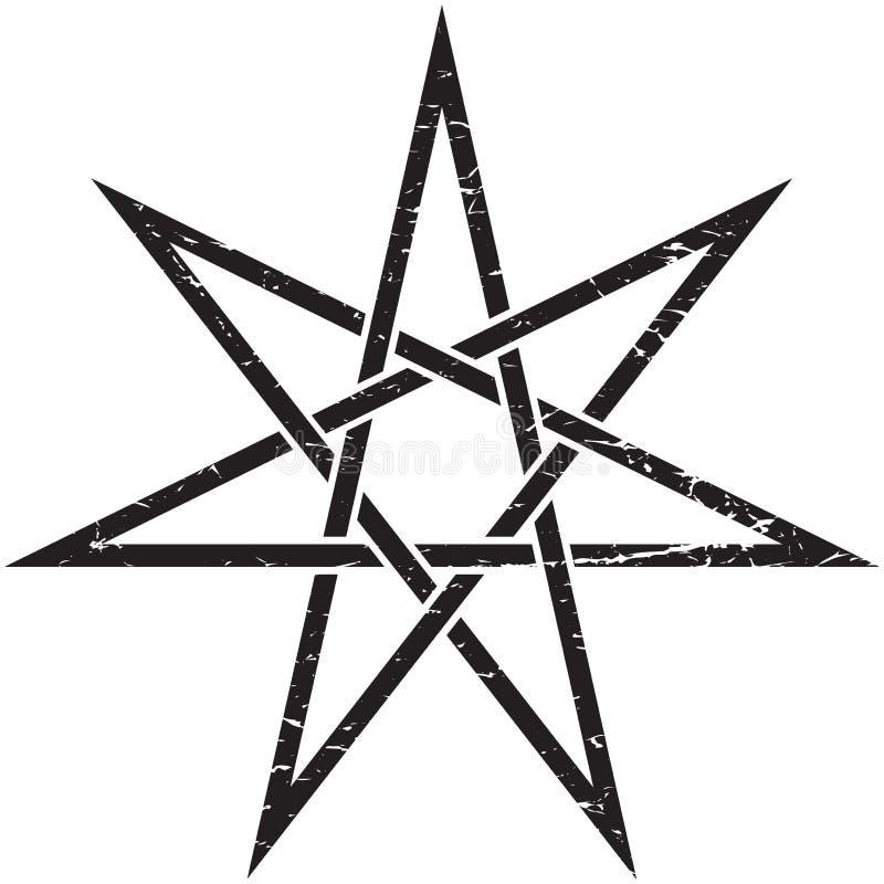 Illustration d'isolement par vecteur unicurrsal féerique d'étoile de Heptagram ou d'Elven illustration stock
