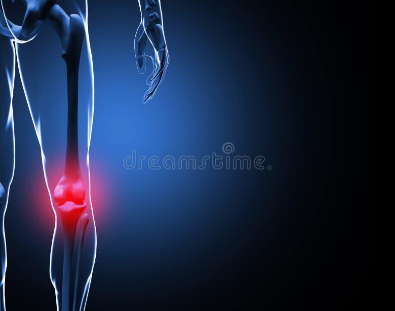 Illustration 3d Knie-Schmerz-Skelett stock abbildung