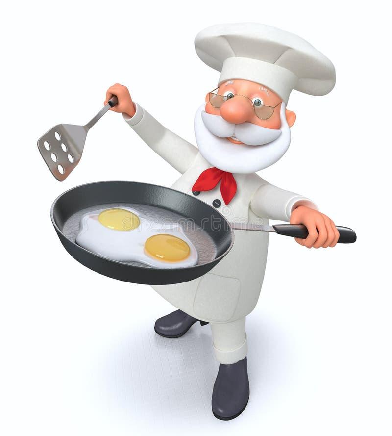 illustration 3D kocken med en stekpanna stock illustrationer