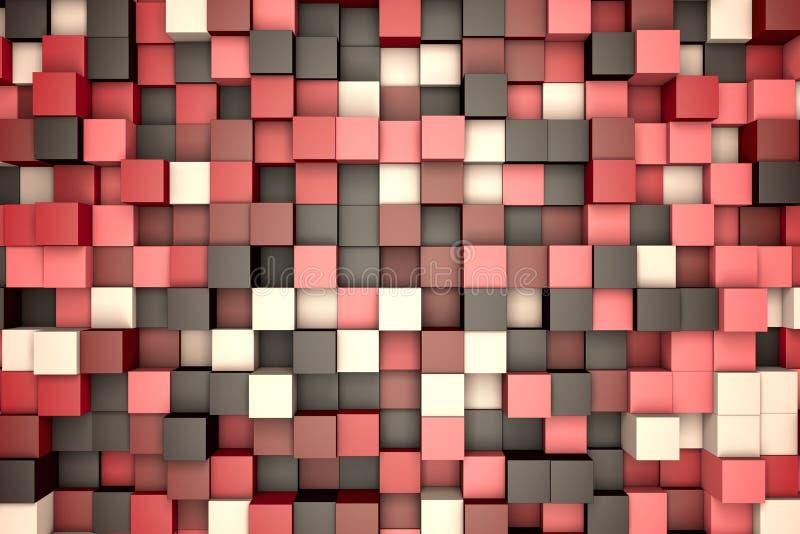 illustration 3d : le fond abstrait, les blocs colorés brunissent - rose - la couleur beige Gamme des nuances Mur des cubes Art de illustration libre de droits