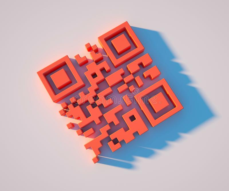 Illustration 3D lebenden korallenroten QR-Codes, Tendenz 2019, Nahaufnahme stock abbildung
