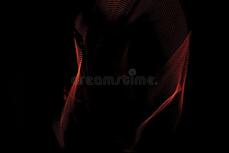 illustration 3D Les formes tridimensionnelles ont fait avec la lumi?re Images corporelles de couleur rouge?tre sur un fond noir photographie stock