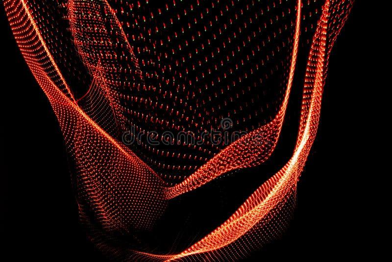 illustration 3D Les formes tridimensionnelles ont fait avec la lumi?re Images corporelles de couleur rouge?tre sur un fond noir photo stock