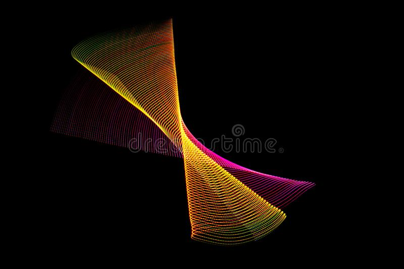Illustration 3 d. Lights forming abstract patterns on black background. Futuristic multicolored pattern stock photo