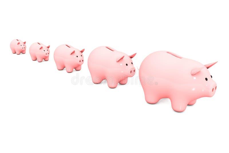 illustration 3d: linjen av den rosa spargrisen på en vit isolerade bakgrund spänna från minst till störst sparbössa fem för mynt stock illustrationer