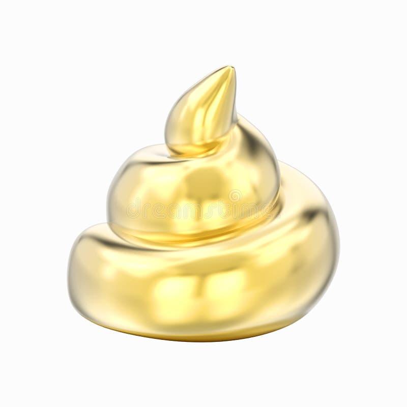 Illustration 3D lokalisierte gelbes Goldchromheckscheiße vektor abbildung